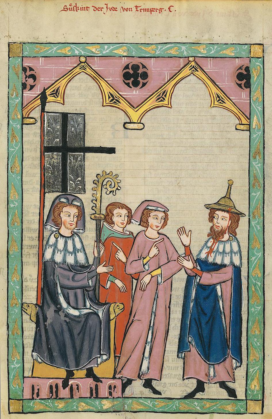 <p>Illustrasjon fra sang- og diktsamlingen <em>Codex Manesse</em>, som utkom i Sveits på 1300-tallet. På bildet er den jødiske dikteren Süßkind von Trimberg ikledd en såkalt «jødehatt»</p>