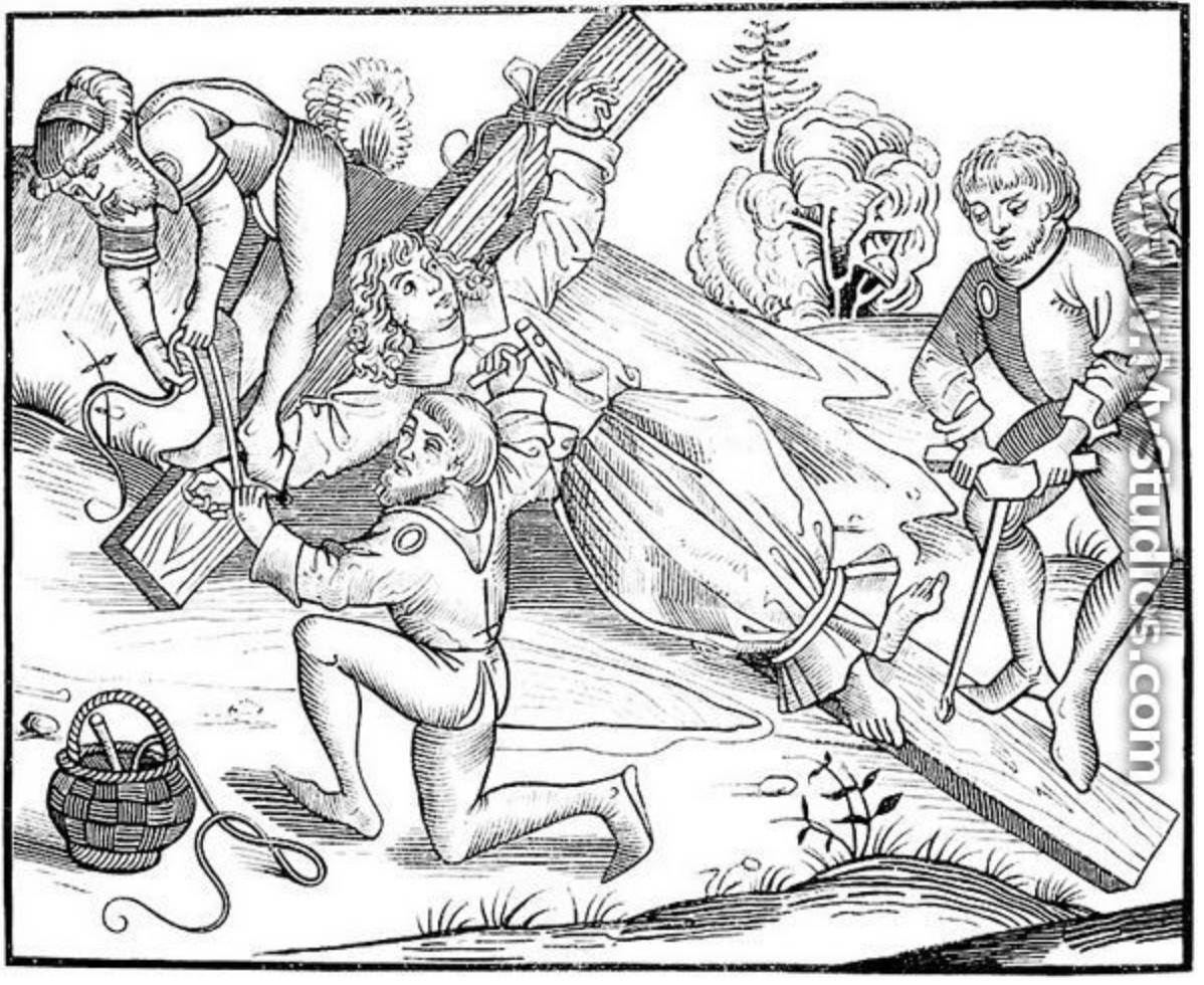 <p>Ritualmordanklagen kom til uttrykk i middelalderens kunst og folkekultur. Her er et tysk tresnitt fra 1493 som forestiller jøder som korsfester en kristen gutt.</p>