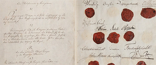 <p>I den norske Grunnloven fra 1814 ble jødene nektet adgang til riket. Illustrasjon: Universitetet i Bergen.</p>